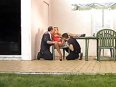 hot milf double fucked outdoors by two guys