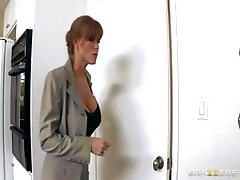 Horny real estate agent with big boobs opens up her ass to make the sale