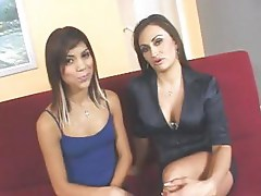 MILF and teen Latina are taking turns blowing and riding a big cock