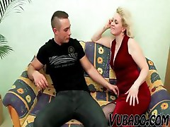 Mature yummy blonde bitch gets a good fucking from a young stud