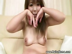 Licking a hairy japanese milf pussy