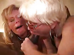 2 white mature sluts go berserk for black cock