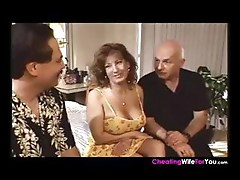 Hellish nympho MILF with a coarse cunny gets sandwiched by two guys