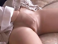 Asian milf plays with her wet pussy