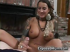 Round bigtits tattooed mom fireplace part2