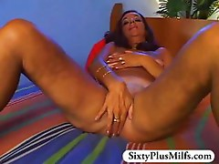 GILF Elle is surprised by his hard dick