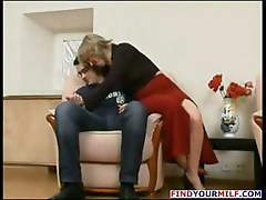 Blonde Russian mature gets a young cock to eat and get nailed with