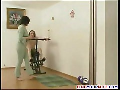 Brunette mature Russian wife blows him and then gets banged