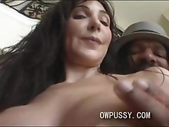 White brunette milf takes on huge black cock that is thicker than a pop can