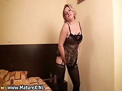 Horny busty mature woman stripping part5