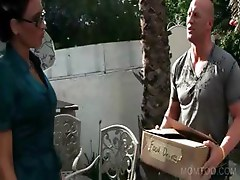 Mom in glasses sucking big dick