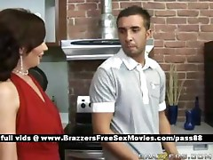 Mature redhead wife in the kitchen gets a blowjob