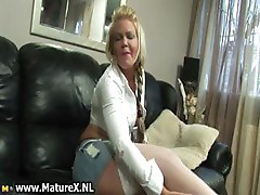 Blonde old mom showing of her big part4