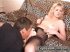 Slutty blond mom in stockings hammered part2
