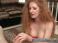 Curly mother fills her mouth with rigid part4