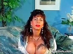 Gorgeous mega boobed mature slut uses part1