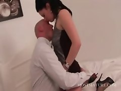 Sensual mommy and sexy guy kissing