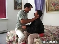 Horny brunette MILF slut blows jizzster part2