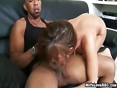 His Giant Black Dick Fucks Her White Face And Pussy