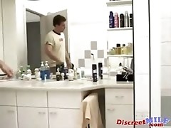 Mature German MILF fucked in the bathroom