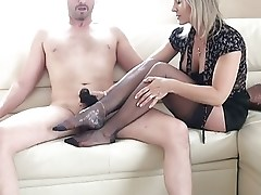 Blonde Milf stocking and panty footjob