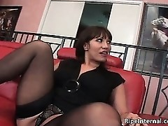 Slutty bigtit brunette MILF blows part6