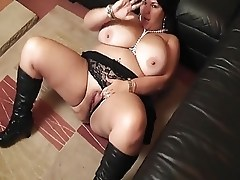 Hot Curvy Busty Cougar Gets it on Leather Boots