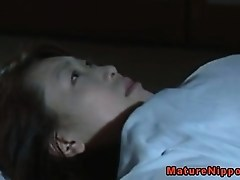 Japanese mature MILF gets oralsex