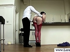 Mature milf in stockings bent over kitchen table and fucked
