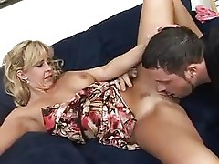 Hot blonde milf gets a mouthful