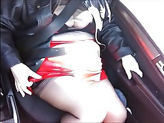 Red pvc skirt shiney red boots and seamed stockings