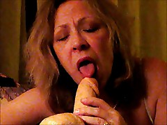 Amateur Wife Sucks Large Squirting Dong Gets Facial