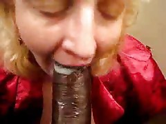 MILF bitch slurps & gobble down a creamy load