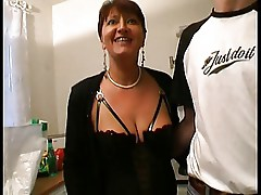 Milf in Lingerie and Stockings Fucks
