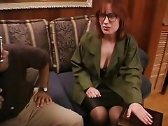 Milf in Stockings Gets Two Cocks to Play With