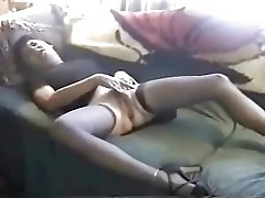 Hot mature spred legs masturbating on bed