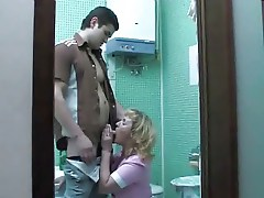 Blonde russian mom bathroom
