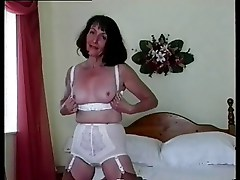 Lady in girdle & big white knickers