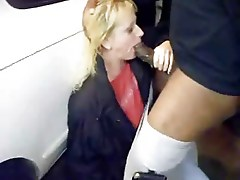 Mature suck a BBC on parking place