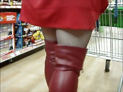 Red boots and stockings