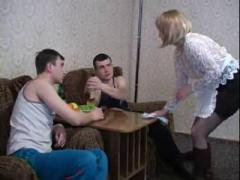 Drunk mom fucked by son and his friend