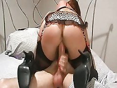 Big Tits Mature Rachel Steele in black stockings and red satin (TheNylonChannel)