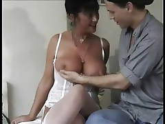 Hairy milf loves to fuck this young stud.