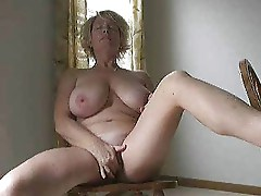 Mature older woman solo chair masturbation german