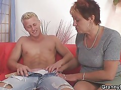 Young guy doing old chick