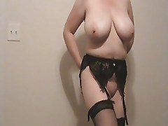 Lateshay 36 G tits, blue shorts, stockings and heels strip