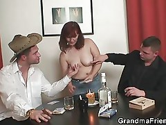 Granny plays strip poker and gets fucked by two guys