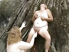 Old pervert lesbians having fun outdoor. Amateur