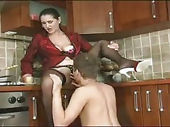 Russian Mature in Stockings with Boy