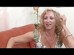 Fit Blonde Granny in Stockings Fucks Another Guy